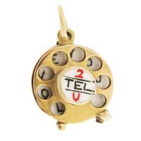 Vintage 2 Tel U 9k Gold Charm
