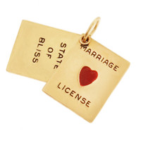 "Vintage Marriage License ""State of Bliss"" 14K Gold Charm"