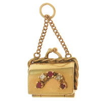 Vintage Movable Purse with Diamonds and Rubies 14k Gold Charm