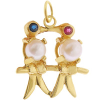Lovebirds with Pearls & Gems 14k Gold Charm