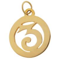 """Vintage Number """"3"""" 9k Gold Charm"""