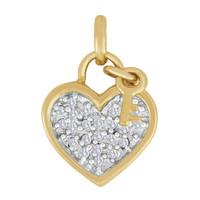Vintage Heart & Key with Diamonds 14k Gold Charm