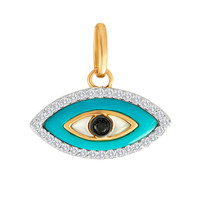 Turquoise Evil Eye with Diamonds 14K Gold Charm