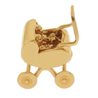 Baby Carriage with Twins 14K Gold Charm