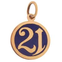 """Vintage Number """"21"""" 14K Gold Charm"""