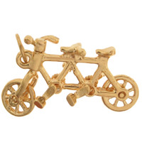 Tandem Bicycle 14k Gold Charm