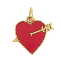 Vintage Enameled Heart With Arrow 14k Gold Charm