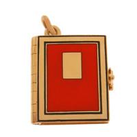 Vintage Red Enameled Book Locket 14k Gold Charm