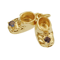 Baby Shoes with Sapphires 14k Gold Charm