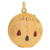 Vintage Edwardian Locket With Rubies and Sapphire 18k Gold Charm