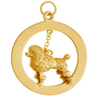Large Poodle Disc 14k Gold Charm