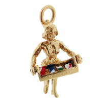 Vintage Enameled Cigarette Girl 14k Gold Charm