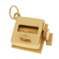Vintage Love Taxi Meter 14k Gold Charm