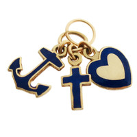Vintage Blue Enameled Faith Hope And Charity 14k Gold Charm