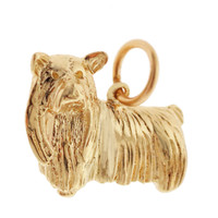 Vintage Dog - Yorkshire Terrier 14k Gold Charm