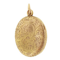 Vintage Art Nouveau Locket 14k Gold Charm