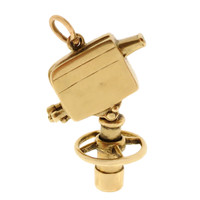 Vintage Movable Movie Camera 14k Gold Charm