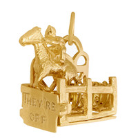 Movable Horserace 14k Gold Charm