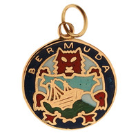 Vintage Bermuda Coat of Arms Enameled 10k Gold Charm