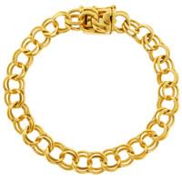 Vintage Double Link Estate 14k Gold Charm Bracelet