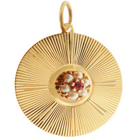 Vintage Disc With Ruby Flower 14k Gold Charm