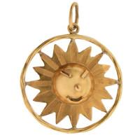 Vintage Sunny or Rainy Sun 14k Gold Charm