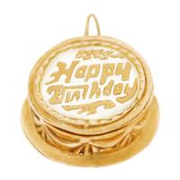 Vintage Birthday Cake 14k Gold Charm