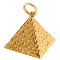 Vintage Egyptian Pyramid 18k Gold Charm