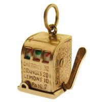 Vintage Working Slot Machine 14k Gold Charm