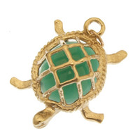 Turtle with Green Agate 14k Gold Charm