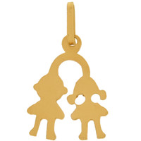 Vintage Small Boy & Girl Charm 14k Gold Charm
