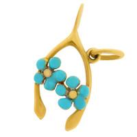 Vintage Enameled Wishbone with Flowers 14k Gold Charm