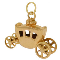 Vintage Cinderella's Carriage 14k Gold Charm