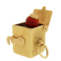 Vintage Red Jack In The Box 14k Gold Charm