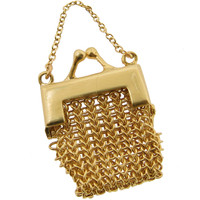 Vintage Woven Chain Pocketbook 14k Gold Charm