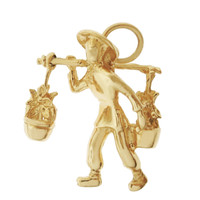 Asian Water Bearer 14K Gold Charm