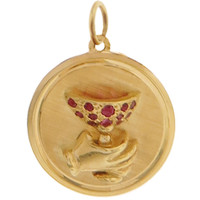 Vintage Champagne Toast with Rubies 14k Gold Charm