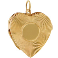 Vintage Engine Turned Heart Locket 14K Gold Charm