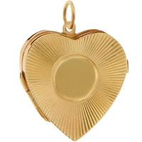 Vintage Engine Turned Heart Locket 14K Gold Charm