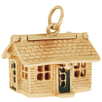 Vintage House With Furniture 14k Gold Charm