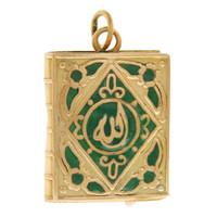 Vintage Enameled Quran 14k Gold Charm