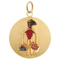 Vintage Super Bellhop Disc 14k Gold Charm