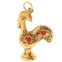 Vintage Grand Enameled Rooster 18k Gold Charm