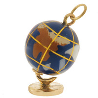 Vintage Blue Enameled Globe 14k Gold Charm