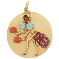 Vintage Female Mariachi Dancer With Precious Stones 14k Gold Charm