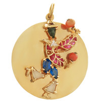 Vintage Gem-Set Carnival Dancer 14k Gold Charm