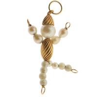 Vintage Pearl Man 14K Gold Charm