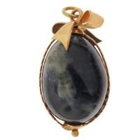 Vintage Blue Sodalite Egg 14k Gold Charm