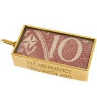 Vintage In Emergency Break Glass 9k Gold Charm