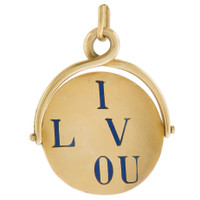 Vintage Enameled I Love you Spinner 14k Gold Charm